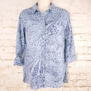 Boden WA697 Button Down Blouse Shirt Fields Sky 2